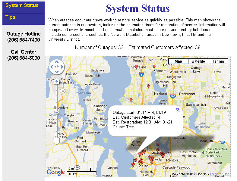 SCL Outage Map